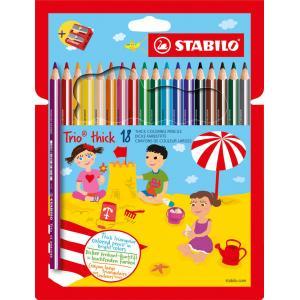 Farbičky STABILO Trio so strúhadlom 18ks