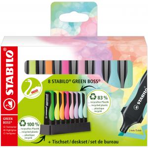 Sada zvýrazňovačov  STABILO GREEN BOSS   8S so 4 rôznymi pastelovými a neónovými farbami