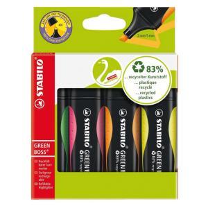 Sada zvýrazňovačov  STABILO GREEN BOSS  4 ks  zelená, ružová, oranžová, žltá