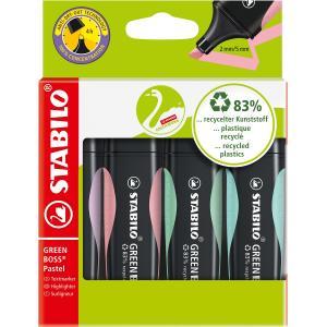 Sada zvýrazňovačov  STABILO GREEN BOSS Pastel  balenie 4 kusov   pastelová zelená, ružová, tyrkysová a fialová farba