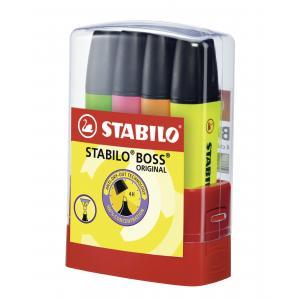 Sada zvýrazňovačov STABILO BOSS ORIGINAL BOSSparade  4 ks Stolný set  žltá, oranžová, zelená, ružová