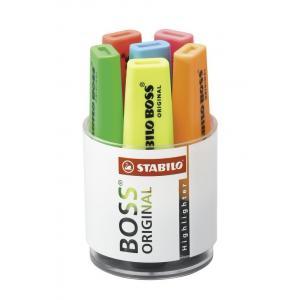Sada zvýrazňovačov STABILO BOSS ORIGINAL  6 ks sklenná dóza  žltá, zelená, oranžová, červená, ružová, modrá