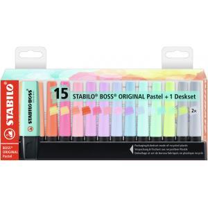 Sada zvýrazňovačov  STABILO BOSS ORIGINAL Pastel  15 ks Stolný set   so 14 rôznymi farbami