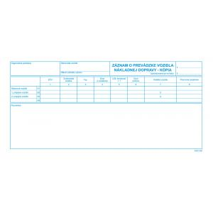 Záznam o prevádzke vozidla náklad.dopravy 2/3 A4 100list kopia