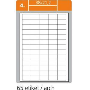 Etikety PRINT A4 38x21,2mm biele 100 hárkov