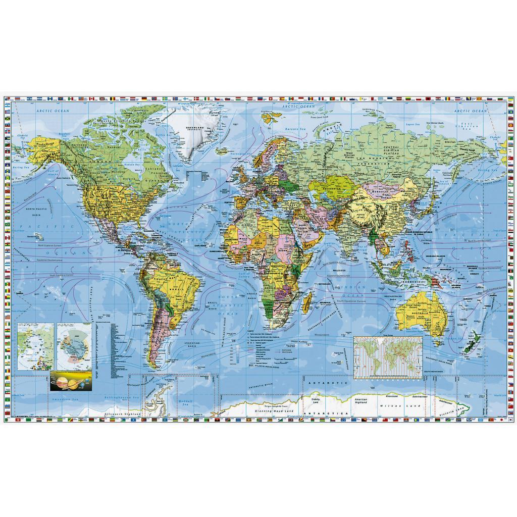 Mapa Svet Politicky S Vlajkami Statov