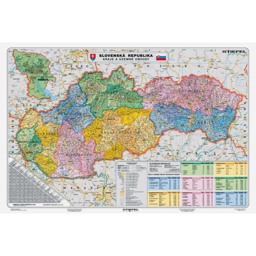 Mapa Slovensko Kraje A Uzemne Obvody